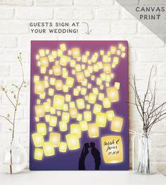 Canvas Wedding Guest Book with Lanterns by MissDesignBerryInc