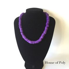Edgy necklace. Chunky purple polymer clay beads. Purple statement jewellery…