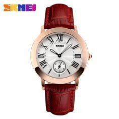 2017 Women Quartz Watch SKMEI Brand Lady Watches Fashion Retro Female Casual Ladies Genuine Leather Strap Women's Wristwatches