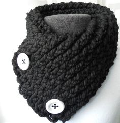 Short Scarf with Buttons, Black Scarflette with White Buttons, Knit Scarf Winter. via Etsy.