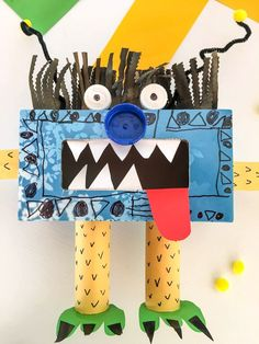 Marcel the Recycled Tissue Box Monster Iddle Peeps - fun kids craft activity Recycled Crafts Kids, Recycled Art Projects, Projects For Kids, Crafts For Kids, Diy Projects, Tissue Box Crafts, Tissue Boxes, Kleenex Box Crafts, Cardboard Crafts