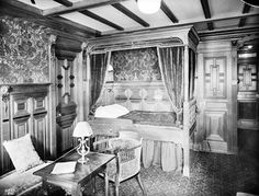 First class parlour suite B59, Titanic, Belfast, March 1912.  The first class accommodation on Titanic was decorated in a variety of historic styles. However, in order to save space, Titanic's decorators wisely used the simpler Neo-Classic styles in most of the suites, such as Adams, Chippendale and French 'Empire'.