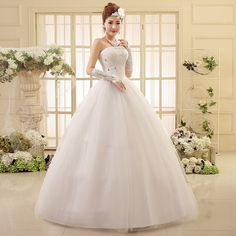 >> Click to Buy << pth-HS550# factory direct wholesale cheap 2016 new large yards married bride lace Bra straps photo studio wedding dress white #Affiliate