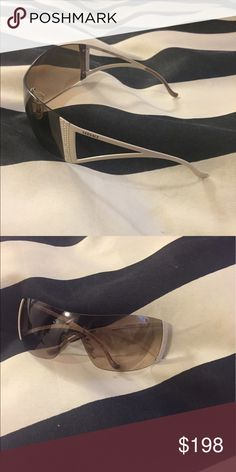 versace white gold crystal sunglasses aviator tan please look at photos carefully for item condition. i want you to be happy with your purchase and know what you're getting! also check out my other listings i would love if you could bundle... i have a lot of pieces that i'm trying to sell fast at great prices! can do lower on p Versace Accessories Sunglasses