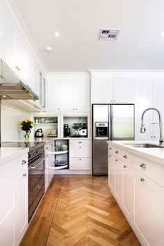 White cabinets, appliance garages