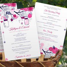 Program Fan Template   Mason Jar Blossoms (Raspberry & Navy) – Karma K. Weddings
