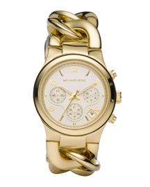 Y0DX3 Michael Kors Chain-Link Watch, Shiny Golden