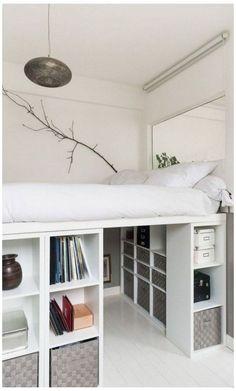Small Room Bedroom, Room Ideas Bedroom, Bedroom Loft, Modern Bedroom, Master Bedroom, Contemporary Bedroom, Loft Beds For Small Rooms, Girls Bedroom Ideas Ikea, Design For Small Bedroom