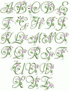 Machine Embroidery Designs Crochet Lace Handkerchief with Elegant Floral Initials Design Monogram Alphabet ( Embroidery Alphabet, Embroidery Monogram, Learn Embroidery, Machine Embroidery Patterns, Silk Ribbon Embroidery, Embroidery Fonts, Vintage Embroidery, Flower Embroidery, Embroidery Thread