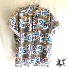 Vintage 1990's Men's Kahala Aloha Hawaiian Tribal Button Front Short Sleeve Shirt Size XL by SatelliteVintageCo on Etsy