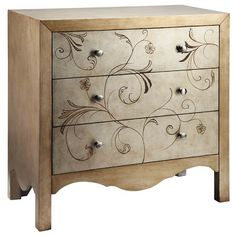 3-drawer wood chest with a scalloped apron and scrolling hand-painted floral details.   Product: ChestConstruction Mater...