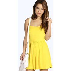 Boohoo Petite Khloe Strappy Swing Dress ($7) ❤ liked on Polyvore featuring dresses, yellow, petite special occasion dresses, petite dresses, body con dress, yellow cocktail dress and evening dresses