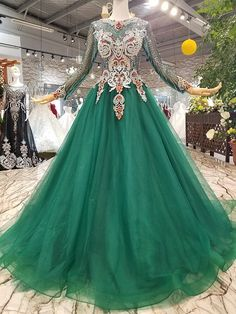 Green Tulle Sequins Long Sleeve Luxury Wedding Dress With Beading Wedding Dress With Feathers, Wedding Dresses With Flowers, Colored Wedding Dresses, Wedding Party Dresses, Prom Dresses, Dress Party, Luxury Wedding Dress, Elegant Wedding Dress, Haute Couture Dresses