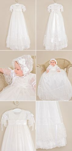 Absolutely stunning in every way, this delicately embroidered netting gown lays over a luxurious silk slip. set includes delicate lace over-gown, silk under-gown, ruffled cotton slip, … Christening Gowns For Girls, Girls Baptism Dress, Cotton Slip, Silk Slip, Silk Ribbon, Ribbon Bows, Net Gowns, Beautiful White Dresses, Lds