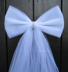White Tulle Bling Pew Bow, Wedding Bow, Bridal Shower, Baby Shower, Chair Sash