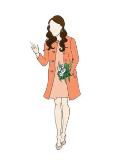 "Duchess of Cambridge Fashion Pregnancy Print 8.5""x11""  - Tara Jarmon Orange Twill Coat"