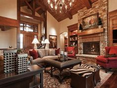 Park City Utah Showcase of Homes by Cameo Homes Inc. - traditional - living room - salt lake city - Cameo Homes Inc. Luxury Living Room, Floor Design, Home Bedroom, Home Inc, Eclectic Home, House Styles, Chocolate Living Rooms, Great Rooms, Cozy Living Rooms