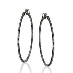 Medium Thin Hoop Earrings in White Gold with Oxidized Diamonds