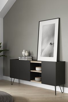 Nina is a sideboard that offers plenty of hidden storage and an open compartment, that interrupts the discreet lines of its design, giving it a twist. Available in lacquered white or black with light oak veneer. Sideboard Modern, Deco Studio, Red Home Decor, Style Deco, Home Upgrades, Living Room Inspiration, New Room, Living Room Interior, Home And Living
