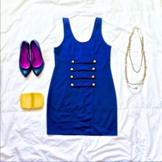 """Silence + Noise Blue Dress Neckline to bottom: 25 inches Shoulder to bottom: 32 inches Dress says size 1 but would work with sizes 0-2 Purchased at Lucca No trades or Paypal!  2 or more 30% off! Let's not discuss prices over comments... I'll have to say """"make offer""""  Fast shipper  Gift wrapper  Not a smoker  Clothes are clean before sending :) silence + noise Dresses"""