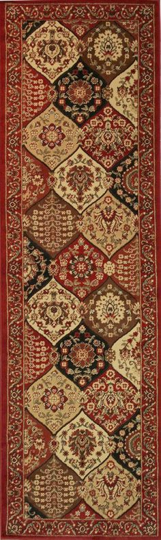 Well Woven Barclay Wentworth Panel Traditional Red Area Rug