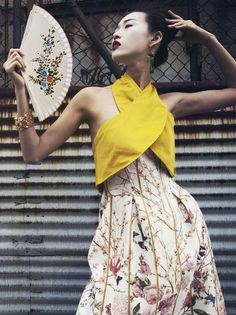 shes-in-vogue:  c-a-n-d-y—k-i-s-s-e-s:  CANDY KISSES: Tian Yi by Oliver Stalmans for Elle Vietnam May 2013