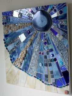 Stained Glass Fused Glass Mosaic Art Agate Blue by GlassArtsStudio by stefanie Mirror Mosaic, Mosaic Wall, Mosaic Glass, Mosaic Tiles, Mirror Glass, Fused Glass Art, Stained Glass Art, Stained Glass Windows, Mosaic Crafts