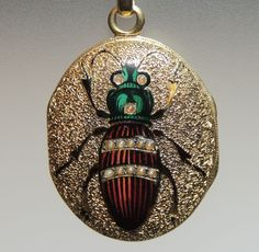 Victorian 18K Yellow Gold Hand Painted Enamel Beetle / Bug Photo Locket,  Seed Pearls, 18kt, $1,000.00