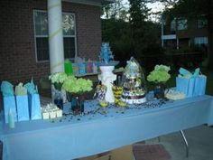 It's A Boy Baby Shower! Candy Buffet for a Baby Boy Baby Shower.  Unlike your regular candy buffet this one only offers a few treats for your guests which is quite ok.  Sometimes