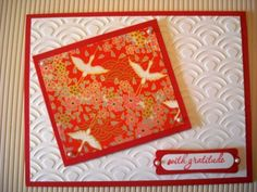 IC380 - Cranes by Stamp Muse - Cards and Paper Crafts at Splitcoaststampers  Washi paper cards - re-Pinned by HankoDesigns.Com