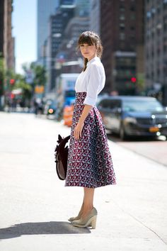 New York Spring 2015 Street Style - Street Style - Harper's BAZAAR - skirt and blouse