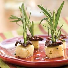 Marinated Mozzarella. I love the rosemary stems on the top. What a great presentation!
