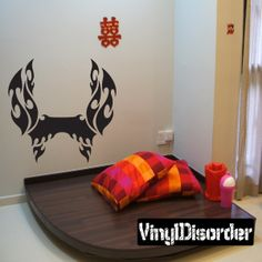 Tribal Flames Frame Wall Decal - Vinyl Decal - Car Decal - DC 041