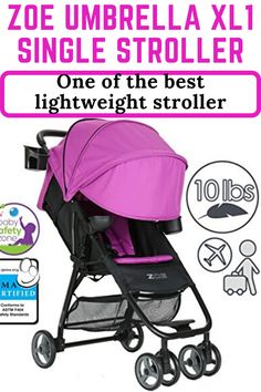 ZOE Umbrella XL1 Single Stroller is one of the best lightweight stroller 2017 and perfect for travel and big city tour. Its aluminum frame provides long-lasting stability while helping keep the stroller extremely lightweight. Its quick, compact and easy one hand fold make it perfect for airline travel and public transportation. Best Lightweight Stroller, Best Baby Strollers, Best Umbrella, Single Stroller, Umbrella Stroller, Large Storage Baskets, Airline Travel, Summer Baby, Trendy Colors