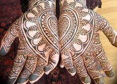 mehndi design meanings -Palm decoration ~ designs invoke images of opening and offering (usually sun, flower, mandala) Back of hand decoration ~ acts as a shield-closing, defending, clenching-symbolizing protection.