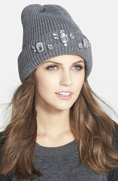 Free shipping and returns on Halogen® Jewel Embellished Beanie at Nordstrom.com. The season's favorite rib-knit beanie goes posh with sparkling crystals on the cuff.