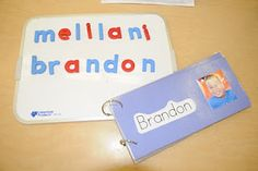 Magnet Boards - The children can do various letter sorts. They can also read and spell the names of the children in our class. (I love the flipbook with names and photos!)