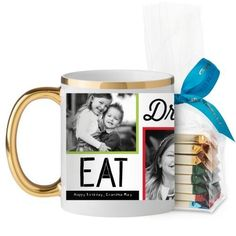 Eat Drink Be Merry Mug, Gold Handle, with Ghirardelli Assorted Squares, 11 oz, Red