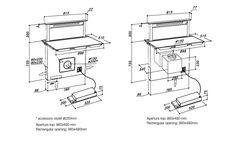 Kóty výsuvné digestoře součástí indukční desky s technologií G5. SIRIUS SDDH1 /SIRIUS SDDH2 Design, Technology