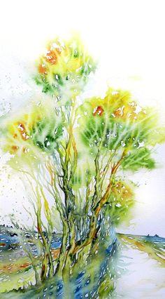 Cristina Dalla Valentina - Incantesimo in verde  24 x 42 cm watercolor on paper, original, signed, unframed  € 100 #watercolor #painting #art