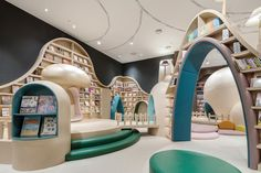 The Neobio Family Park in Shanghai sees the wildly colourful and boundaryless imagination of children brought to life through enriching playful design. Kids Library, Library Design, Design Commercial, Playground Set, Kindergarten Design, Kids Cafe, Interior Architecture, Interior Design, Kids Play Area