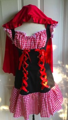 Little-Red-Riding-Hood-Costume-Fancy-Dress-Mini-TuTu-Cape-Adult-Womens-Medium