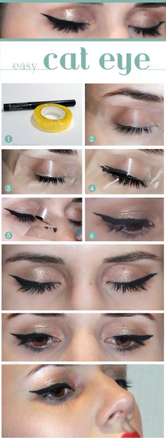 create a cat eye with adhesive tape