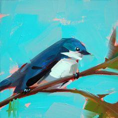 Cerulean Warbler no. 55 original bird oil painting by Angela Moulton