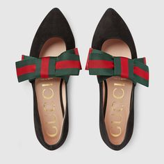 31bc8ee4ecf6 Gucci Suede ballet flat with bow Strappy Flats