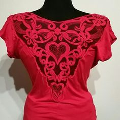 Lace embroidered back top Red scoop neck gathered cap sleeves. Lace and embroidered back. Lipstick brand ( a body central brand ) minimal signs of wear. There are 2 small holes in the lace as shown in pic 3. No other imperfections. Very comfortable NECKLACE NOT FOR SALE Lipstick  Tops Tees - Short Sleeve