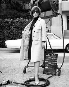 Lee Grant on the Valley of the Dolls set, 1967 Lee Grant, White Evening Gowns, Sharon Tate, Valley Of The Dolls, Movies Playing, White Chiffon, Double Breasted Coat, Motown, Vintage Hollywood