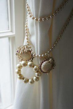 Curtain Tie Back Vintage Pearls
