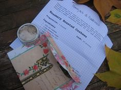 SOLD - Rosemary Sugar & Recipe 'Letter' for Rosemary Roasted Cashews with one of a kind handmade re-usable envelope by Pumpjack&Piddlewick on Etsy