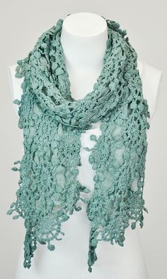 Teal Crochet Lace Scarf